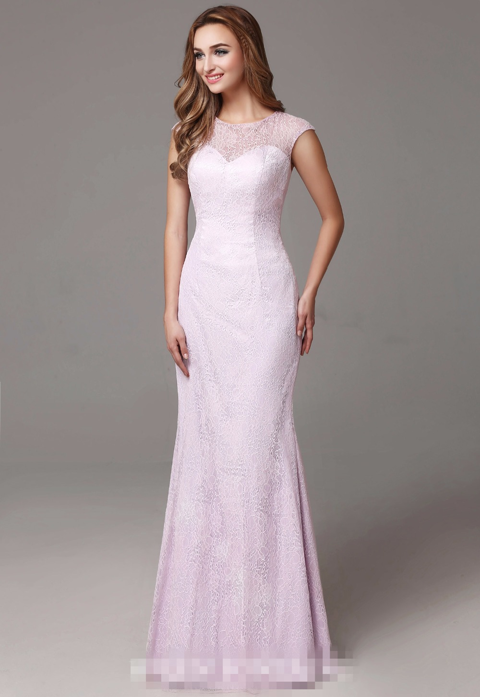 2017 Real Long Pink Mermaid Bridesmaid Lace font b Dresses b font Cap Sleeves font b