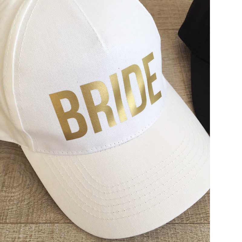 1e0d0a06 ... BRIDE SQUAD Baseball Caps Golden Print New Style Hats Women Wedding  Preparewear White Black Hip Hop ...