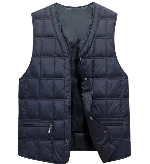 Man Autumn Solid Loose V-neck Sleeveless Vests Male Winer Cardigan Straight Single Breasted Warm Outerwear Men Coat
