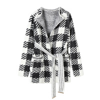 European Style 2019 Early Spring New Sweater Cardigans Female Contrast Color White Black Plaid Knitted Jacket Coat Women Outwear