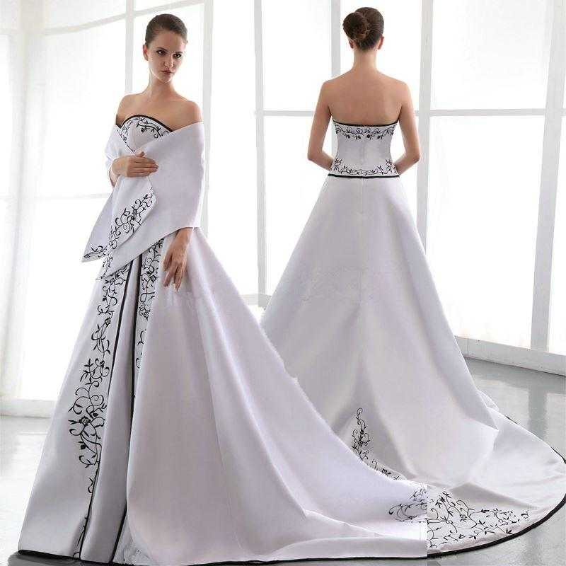 Vestidos novia blanco con negro