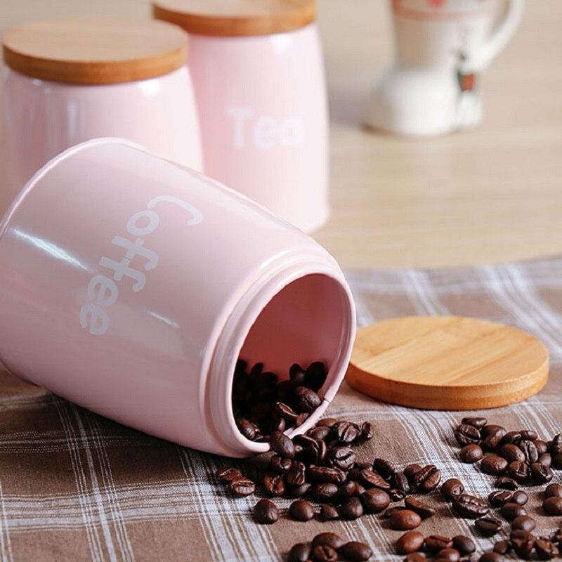 3 pièces/ensemble réservoir de stockage qualité belle acier ménagère ustensiles de cuisine multifonction thé café sucre boîte carrée caisse rose - 3