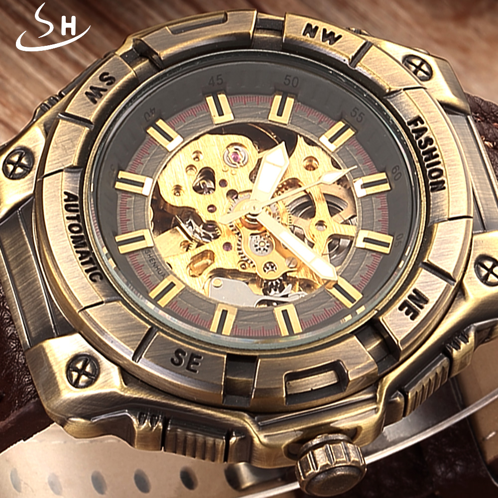цены Automatic Skeleton Mechanical Watch Men Watches Brand SHENHUA Retro Leather Vintage Luxury Bronze Sport Watch Relogio Masculino