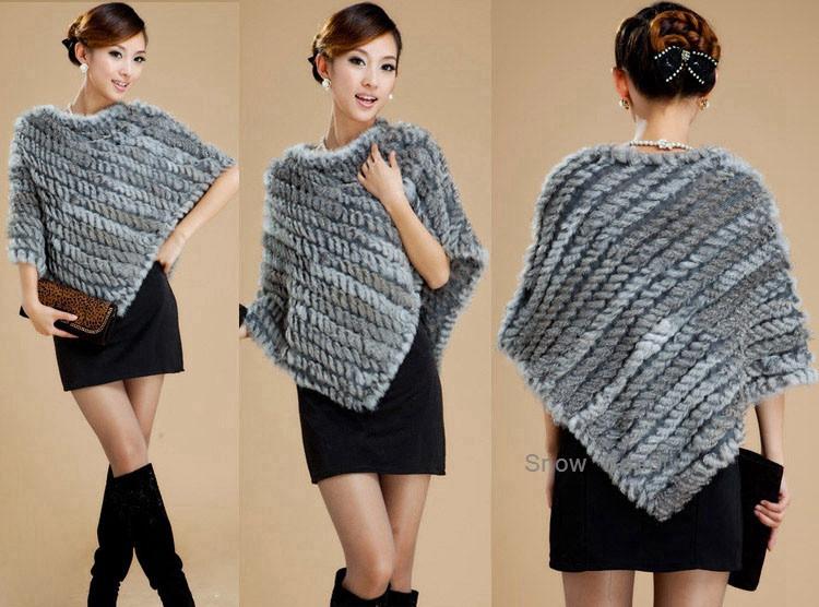 natural real knitted rabbit fur poncho shawl (16)