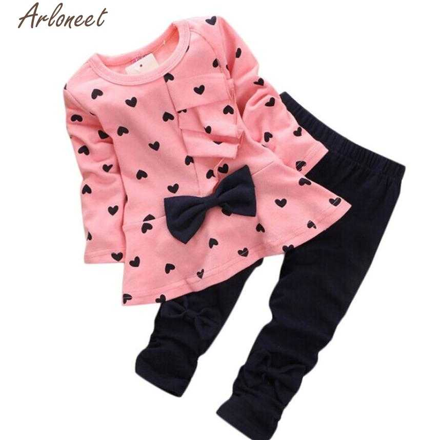 ARLONEET Baby Girl Clothes New Baby Sets Heart-shaped Print Bow Cute 2PCS Kids Set T-shirt+Pants Sets QF21 2019