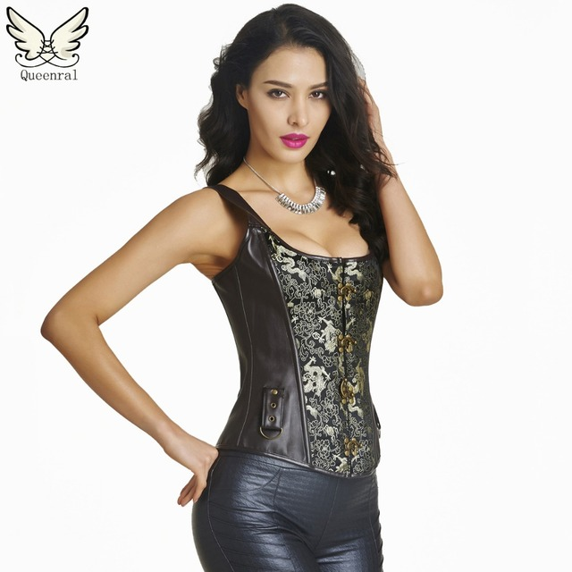 fe73c4e547b waist trainer corsets Leather steampunk corselet gothic clothing waist  trainer sexy lingerie slimming party corsets bustiers