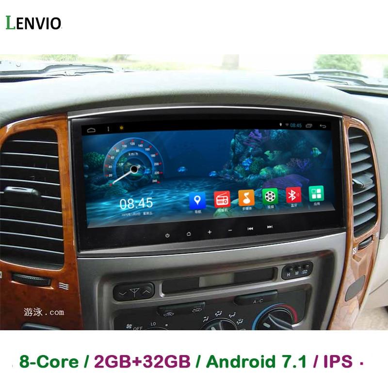 Lenvio ips Оперативная память 2 ГБ + 32 ГБ 10,3 ips Android 7,1 автомобиль gps DVD плеер для Toyota Land cruiser 100 LC100 2006 2007 Octa Core радио DAB