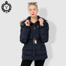 COUTUDI Winter Jacket Women Thick Warm Slim Medium Long Winter Woman Coat With Natural Fur Collar