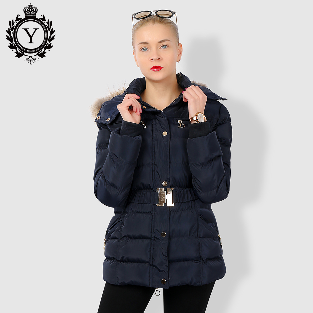 COUTUDI Winter Jacket Women Thick Warm Slim Medium Long Winter Woman Coat With Natural Fur Collar Hooded Female Cotton Parkas