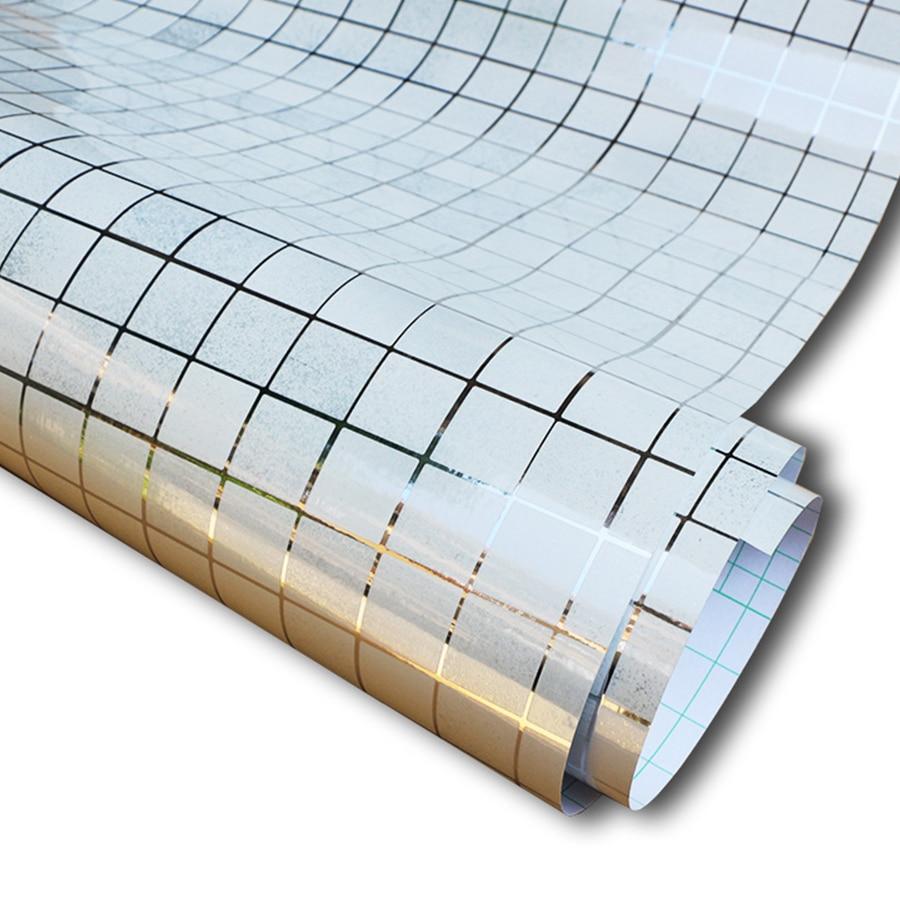 5m aluminum foil self adhesive wall papers mosaic for Self adhesive bathroom wallpaper