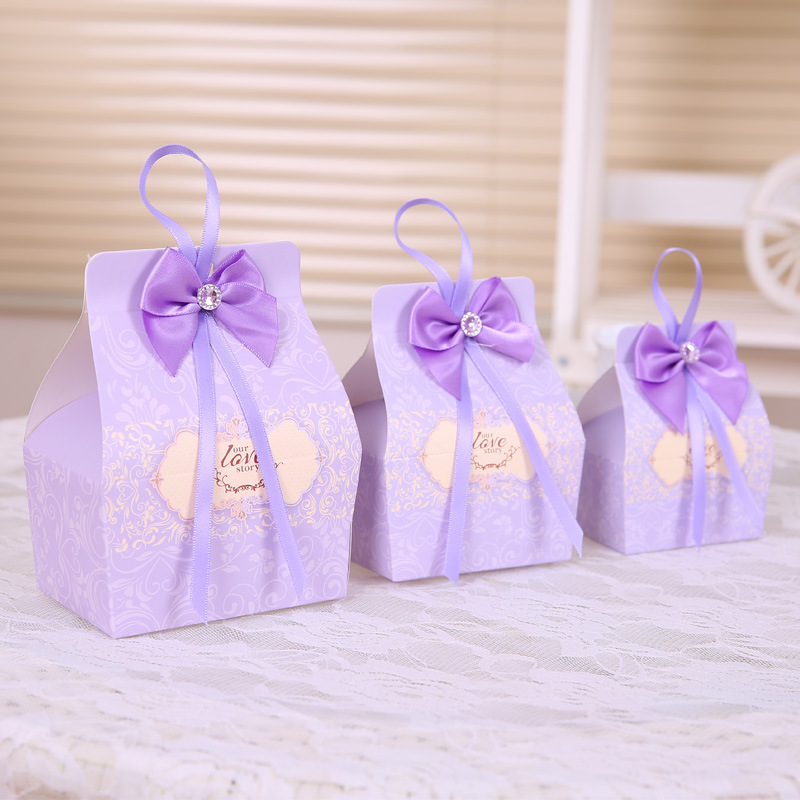 Aliexpress.com : Buy 50pcs Purple Candy Boxes Party Favors Wedding Box  Sweets Party Favour Baby Shower Gift Bags W/Ribbon Bow Decos 10*6.5*6.5cm  From ...