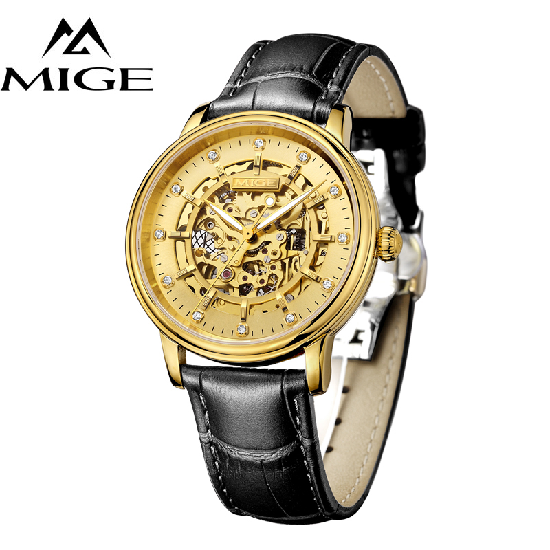 MIGE Men Watches Top Brand Luxury Luminated Skeleton Mechanical Watches m Waterproof