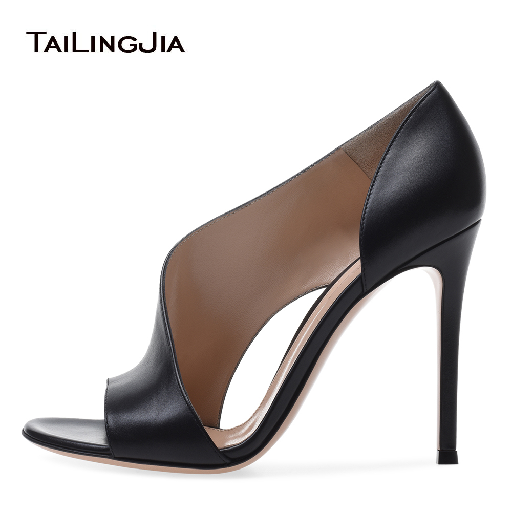 Latest Matte Black Open Toe High Heel Pumps for Women Brown Heeled Party Dress Shoes Ladies Summer Stiletto Heels Large Size basic pump