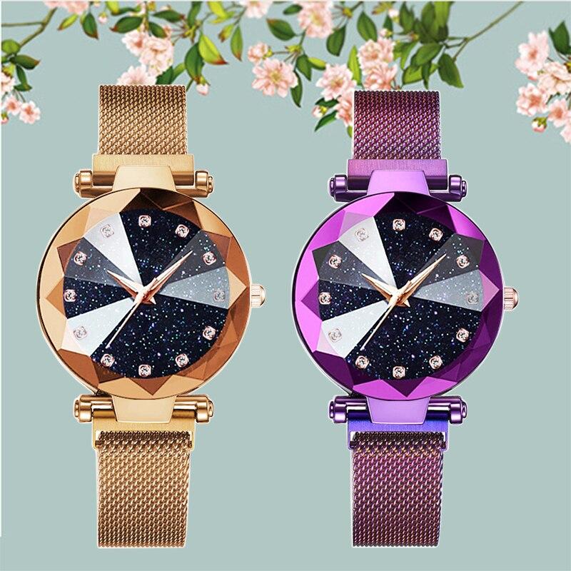 Sky Star Lady Crystal Watch 4 Colors Rose Gold Steel Net Magnet Quartz Watch Diamond Shiny Fashion Clock Relogio Feminino