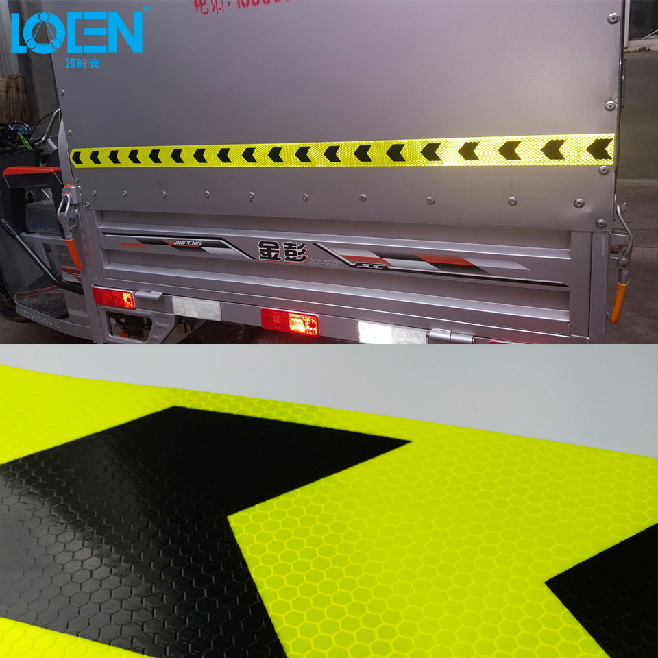 5CM Width Night Driving Caution Warning Safety Car Body Arrow Reflective Stickers Glue Sticker For Auto Motorcycle Bicycle 25M arrow pattern car body reflective warming mark sticker golden red silver 10 pcs
