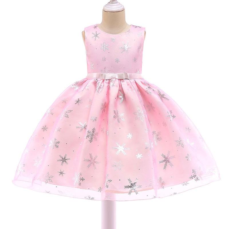 2019 estampado en caliente copo de nieve vestido de niña de la boda de impresión chico ropa de verano cuello redondo cinta princesa pomposo ropa de los niños