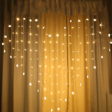 SPLEVISI  LED fairy string curtain Light Heart-shaped 2M*1.5M 128 Leds For Christmas Wedding party window garland Valentine Xmas beiaidi 3x0 65m heart shape curtain icicle led string light romantic xmas wedding party window curtain garland indoor lighting