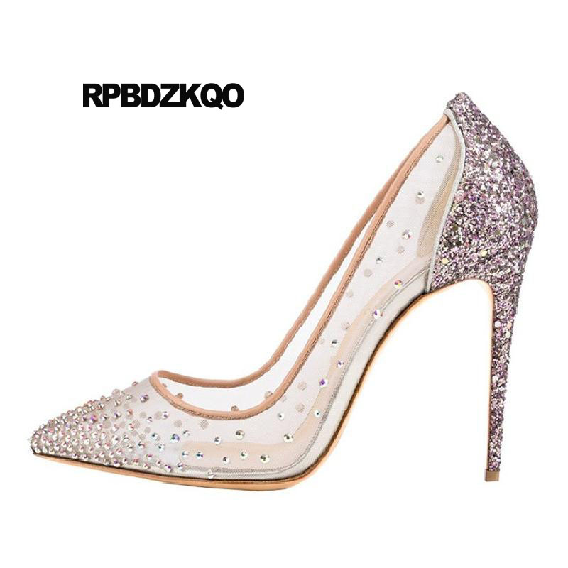 4 inch heels wedding shoes diamond high crossdresser pointed toe women  stiletto pumps glitter 12 44 fetish 13 45 mesh big size 12338728cf2a