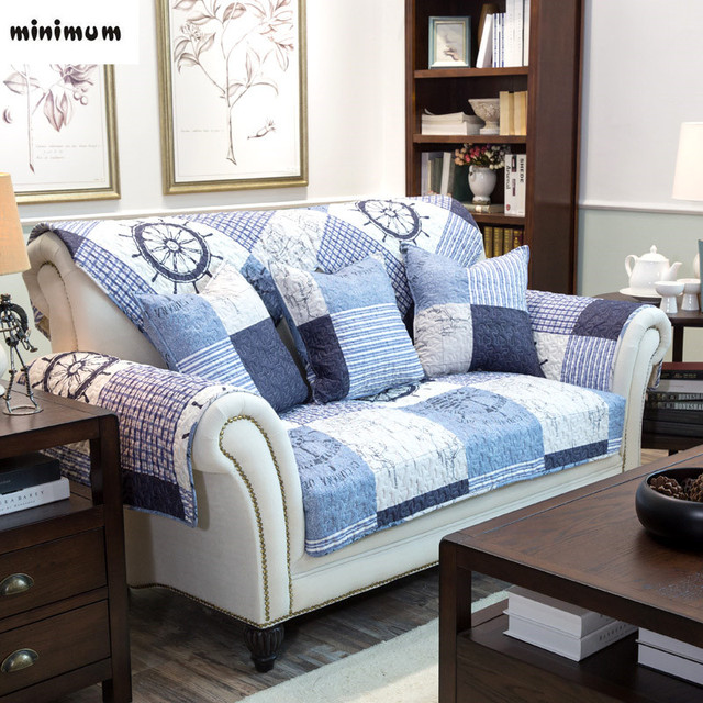 American Style Ocean Retro New Non   Slip Cotton Fabric Sofa Cushion Sofa  Towel Cover Custom