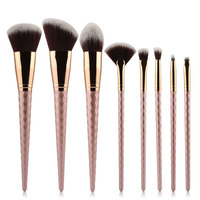 8pcs Threaded Rod Design Makeup Brush Set Cosmetic Tool For Eyebrows Eyelashes Eyes Cheeks Powder Basic