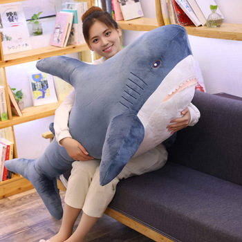 1pc 80/100cm Big Size Funny Soft Bite Shark Plush Toy Pillow Appease Cushion Gift For Children Kids Sleeping Doll Stuffed Toy fancytrader big plush bite shark pillow doll huge soft stuffed animal shark toys for children 100cm 39inch