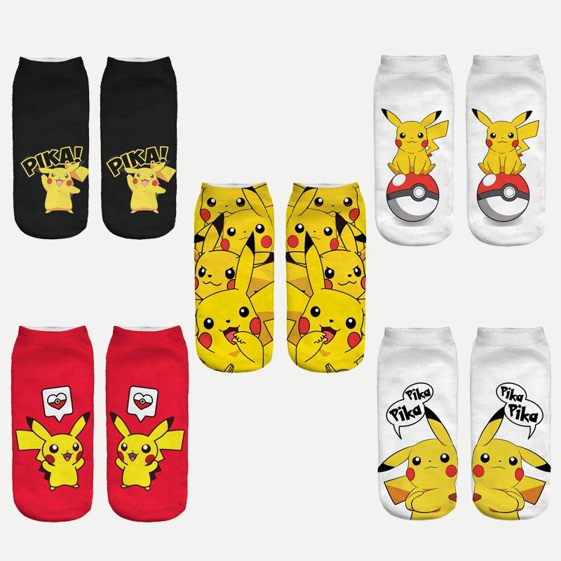 2017 nouvelle arrive kawaii harajuku pokemon pikachu chaussettes 3d imprim de bande dessine de femmes low