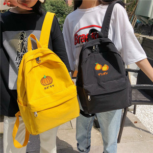 Image 4 - DCIMOR New Fruit embroidery Women Backpack Little fresh Waterproof nylon solid color shoulder bag Girlsschoolbags for teenagers