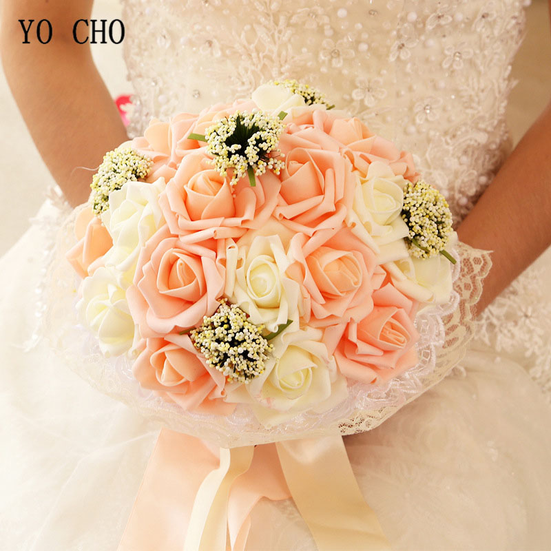 YO CHO Bridal Wedding Bouquet Bridesmaid Artificial PE Rose Flower Fake Pearl Pink Bouquet Wedding Supplies Festival Decorations