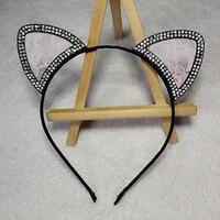 Lace Rhinestone Crystal Crown Headbands Cute Cat Fox Ear Hair Accessories For Women Girls Headwear Festival Party