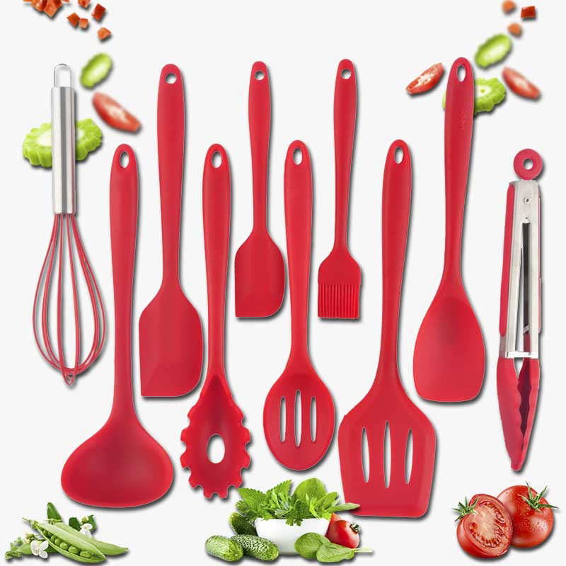 10 pièces ustensiles de cuisine en Silicone ustensiles de cuisine Set résistant à la chaleur cuillère antiadhésive spatule poche oeufs batteurs cuisine cuisson outils de cuisson