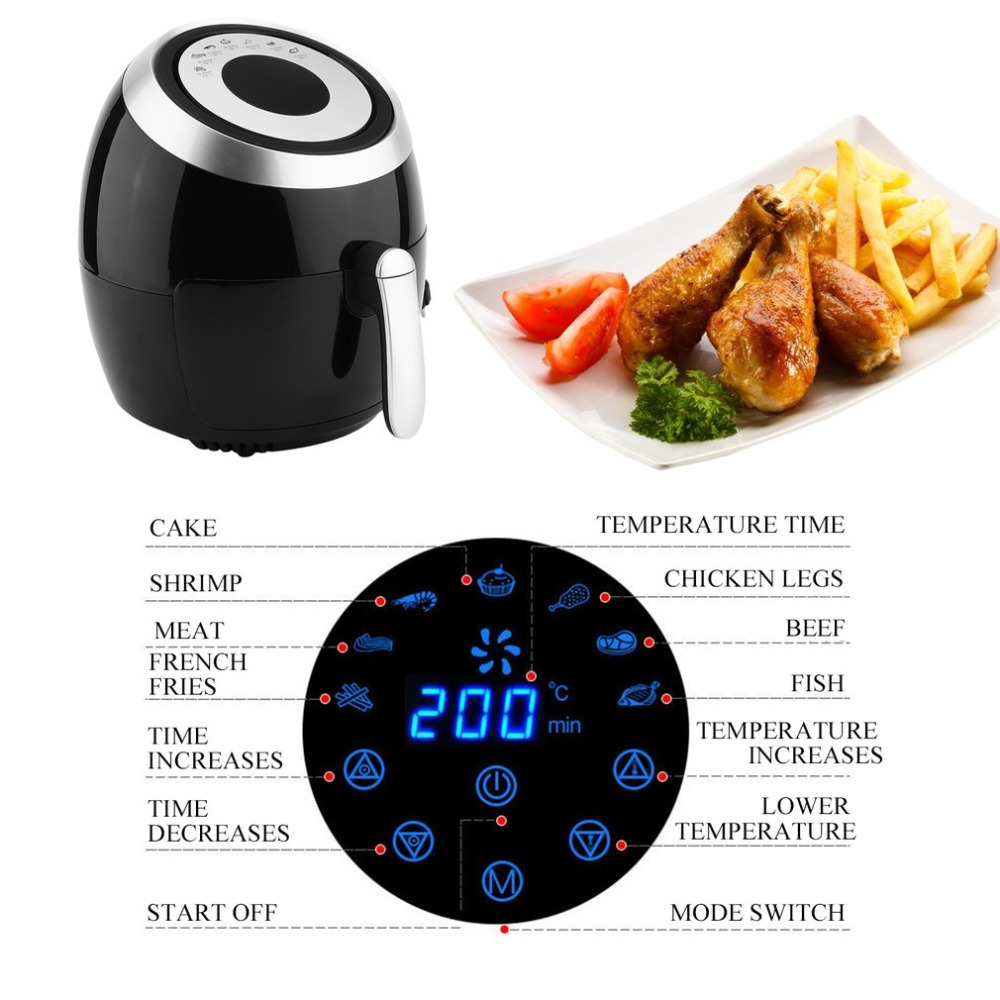 1400W 3.6L Intelligent Temperature Control Commercial Electric Air Fryer Smokeless Cooker Machine EU Plug White J25C28 cusibox air fryer 1400w 3 6l oil free smokeless electric deep fryers home commercial kitchen cooker french fries maker machine