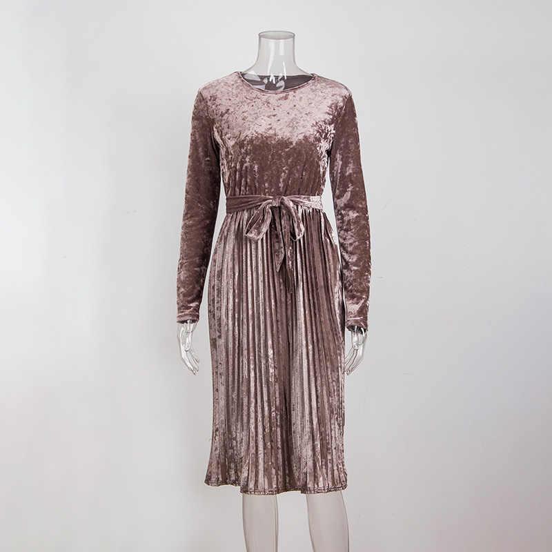 2018 платье осень зима элегантное зеленое Золотое бархатное Плиссированное Платье Длинные вечерние платья с длинным рукавом плюс размер ретро Женская одежда