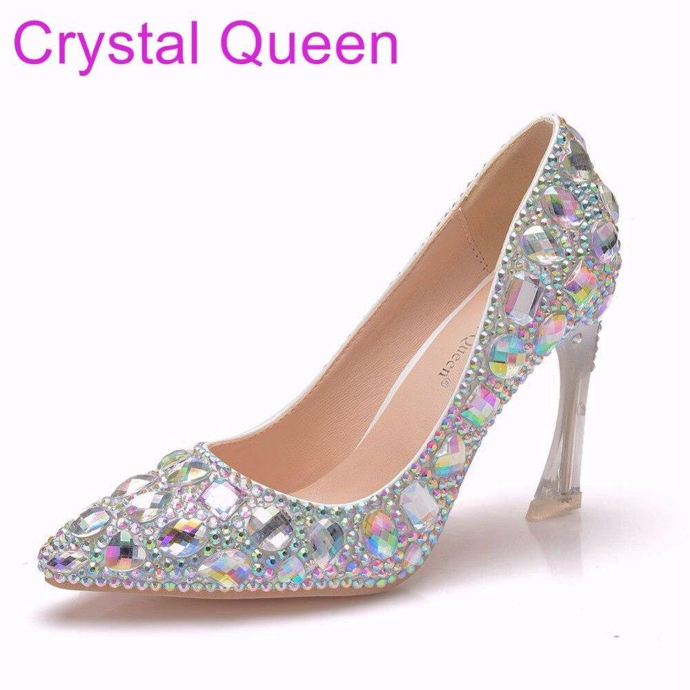 Rhinestone Wedding Heels: Crystal Queen 9CM Crystal Heels Pointed Toe High Heels