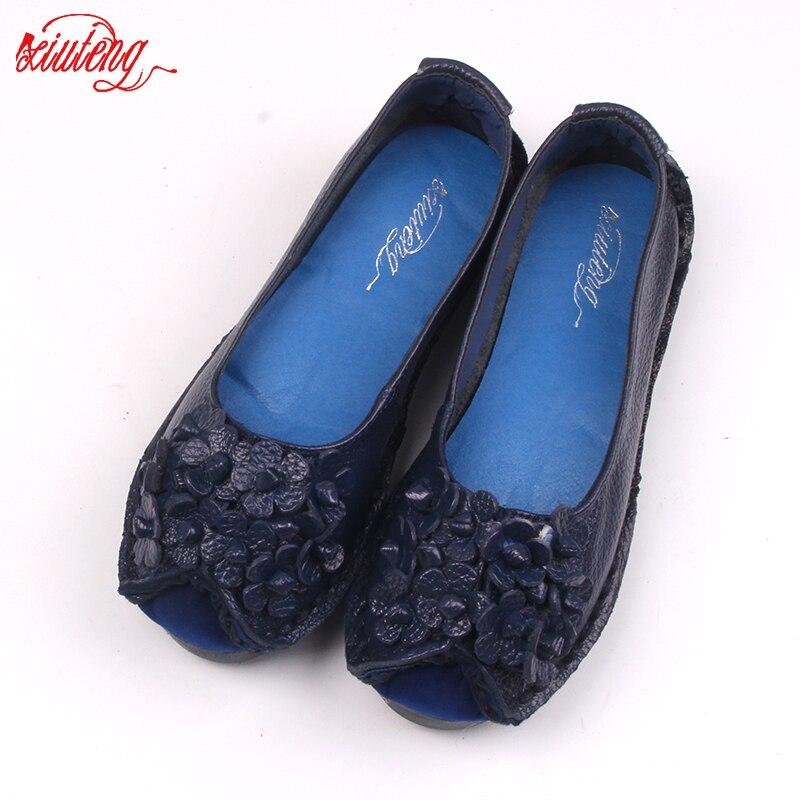 2017 Estilo Del Verano Suaves Mocasines zapatos casuales las mujeres de Flores d