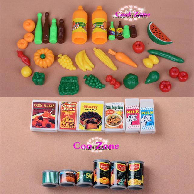 Barbie Toy Food : Pcs lot miniature pretend play food and canned