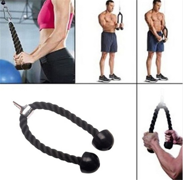 Biceps Drawstring Triceps Drawstring Commercial Gym Equipment Tricep Adjustable Nylon Rope Push Pull Down Black For Bodybuilding