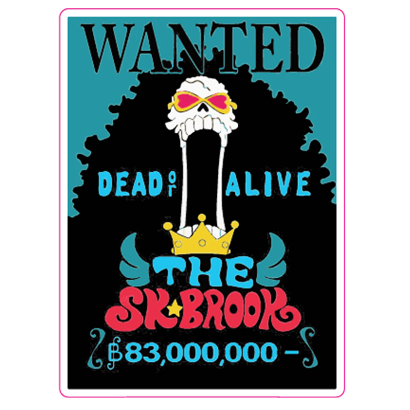 The SK Brook WANTED One Piece - Fixed Gear/Luggage/Motor/Car/Refrigerator/Skateboard Stickers Reusable ONEPIECE Stickers