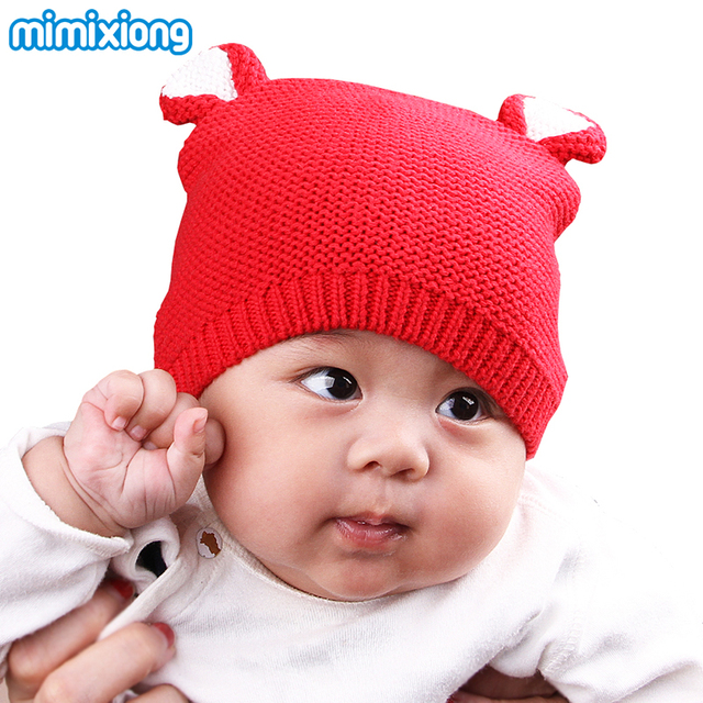 5110f8d9add0 Newborn Boy Girl Baby Caps Funny Cartoon Bear Knit Infant Hats ...