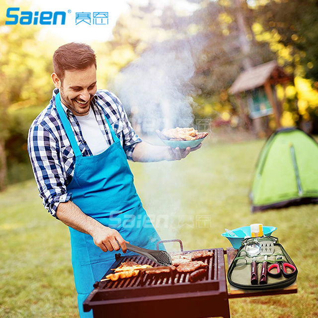 Camp Kitchen Utensil Organizer Travel Set – Portable 8 Piece BBQ Camping Cookware Utensils Travel Kit