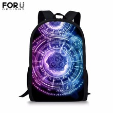 FORUDESIGNS Cartoon Magic Array School Bag for Children Boy Girl Black Backpack Teenagers Student Cool Circle Bookbag 2019