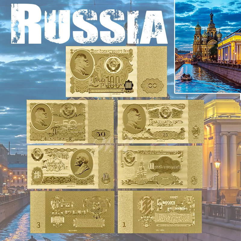Banconote in lamina d'oro Russia 1 3 5 10 25 50 100 Rublo Valuta Set all'ingrosso per la raccolta