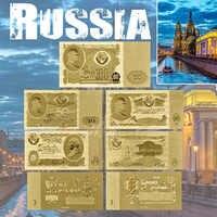 Notas da folha de ouro rússia 1 3 5 10 25 50 100 ruble moeda conjunto atacado para coleção