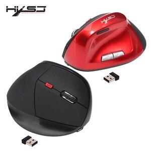 Image 1 - HXSJ X60 2400 DPI 6D 2.4 GHz souris de jeu verticale optique sans fil 6 boutons pour batterie Rechargeable 1200 mAh intégrée à la main droite