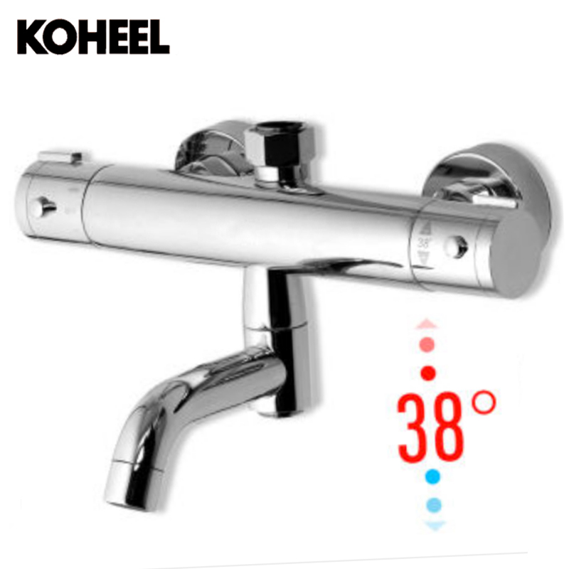 Copper Dual Handle Thermostatic Faucet Bath Brass: Luxury Thermostatic Fancy Wall Mounted Bathtub Faucet Dual