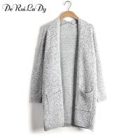 DeRuiLaDy 2017 Autumn Winter Fashion Women Long Sleeve Big Pocket Loose Knitting Cardigan Sweater Womens Cardigan