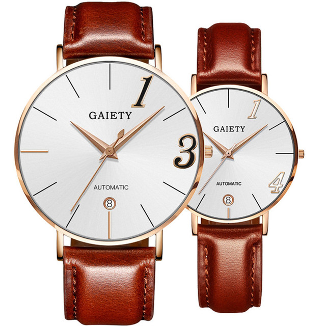 Modern Fashionable Couples Watches, Leather Strap, Quartz Wrist Watches