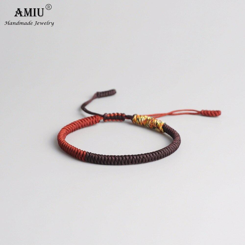 AMIU Tibetan Buddhist Lucky Charm Tibetan Bracelets & Bangles For Women Men Handmade Knots Black Rope Christmas Gift Bracelet