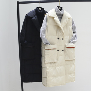 Image 4 - Plus Size XL Women Winter Vests 2018 New Medium Long Vest Cotton Padded Jacket Sleeveless Female Lapel Waistcoat Vest