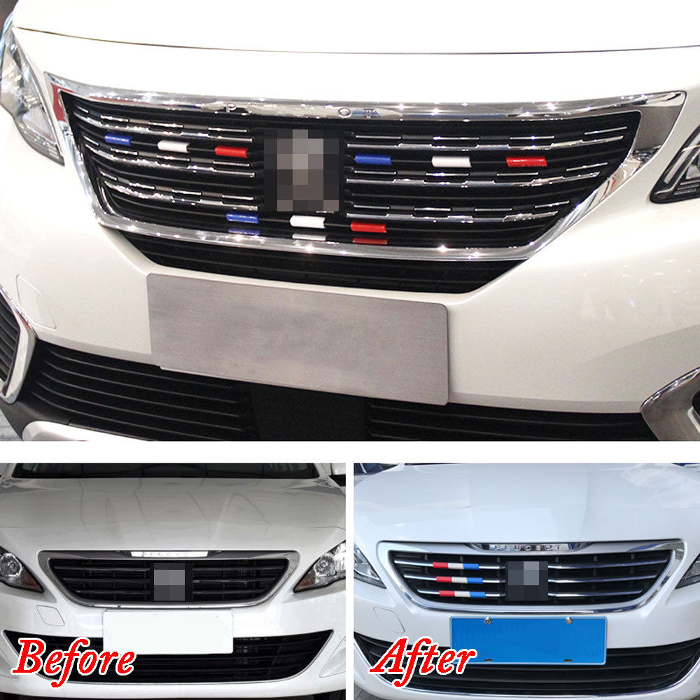 9Pcs for Peugeot 301 4008 308 Front Cover Trim Grille France Flag Grill Color