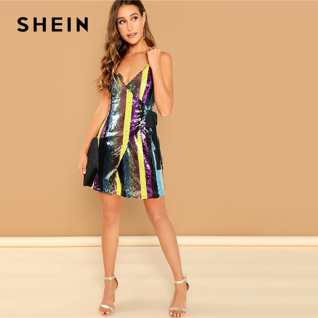 401f8d465a SHEIN Going Out Multicolor Surplice Wrap Sequin Knot Cami Dress Sleeveless  Spaghetti Strap Party Dresses Women Summer Mini Dress
